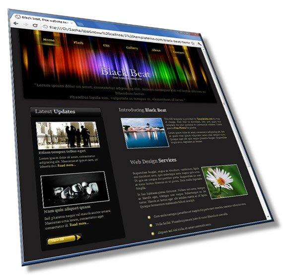 Шаблон сайта черного тона : HTML, CSS, 1 страница - шаблон