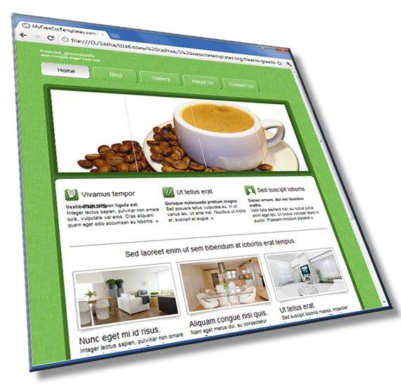 Зеленый шаблон со слайдером: HTML, CSS, JS - шаблон