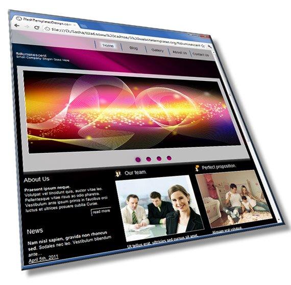 Стильный шаблон сайта: HTML, CSS, JS слайдер - шаблон