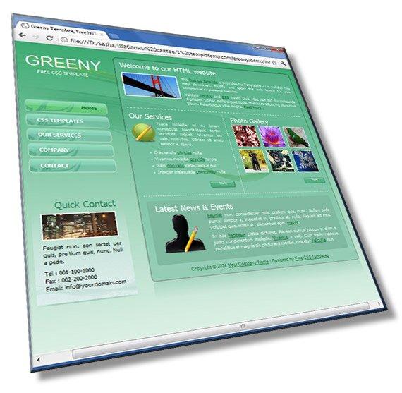 Greeny - шаблон сайта в зеленом стиле: HTML + CSS + JS - шаблон