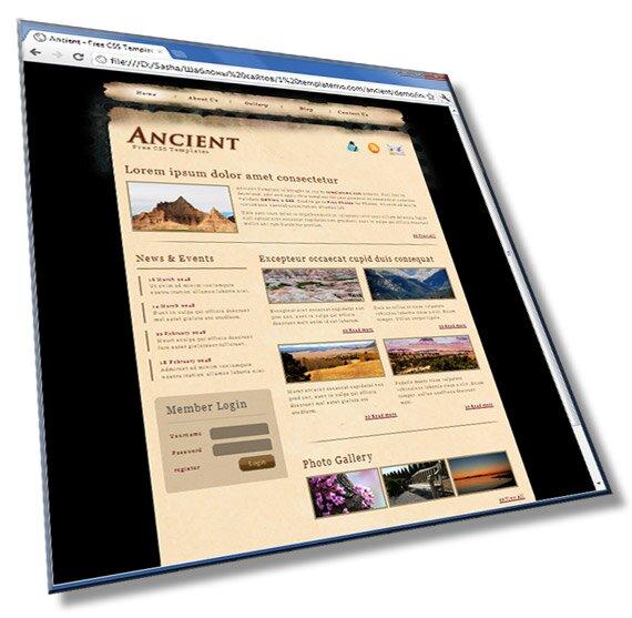 Шаблон сайта Ancient: HTML + CSS - шаблон