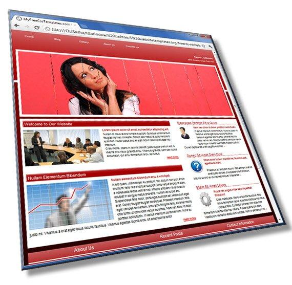 Красный шаблон сайта: HTML, CSS, JS слайдер - шаблон