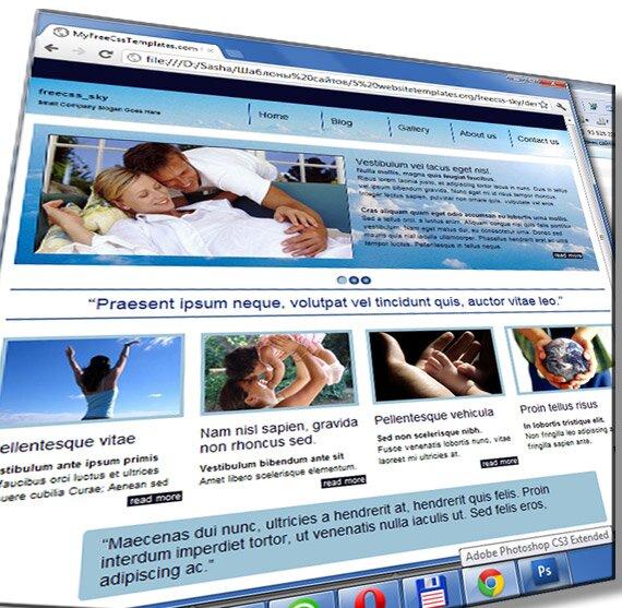 Шаблон сайта в голубом стиле: HTML, CSS, JS - шаблон