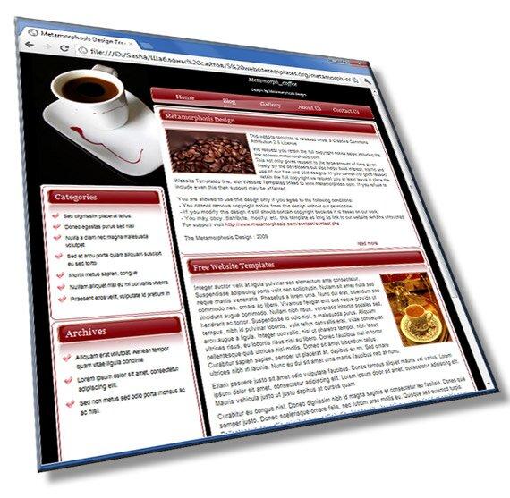 Шаблон визитка сайта кофейни: HTML, CSS - шаблон