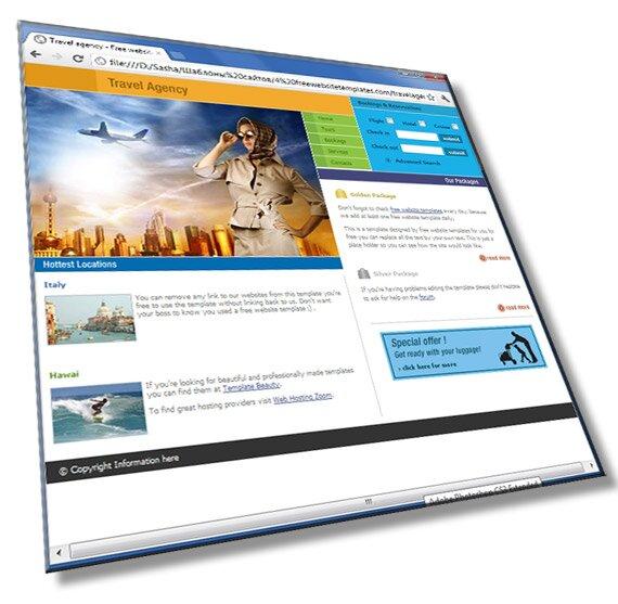 Шаблон сайта турфирмы: HTML, CSS - шаблон